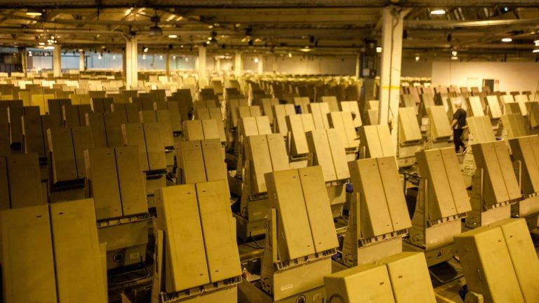 Voting machines at the Office of the City Commissioner's warehouse (Brad Larrison for WHYY)