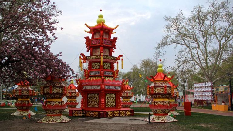 The Chinese Palace Lantern is brushed by the boughs of a cherry tree. (Emma Lee/WHYY)