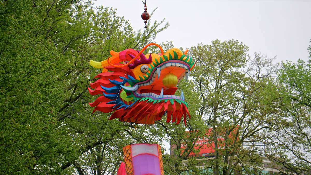 Workers use a crane to lower the head onto a giant dragon lantern, the centerpiece of the Chinese Lantern Festival at Franklin Square Park.