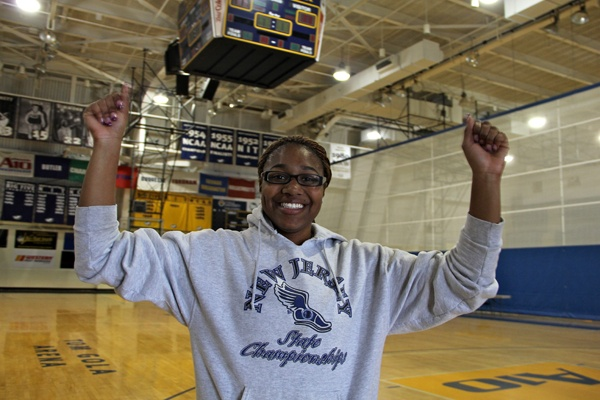 Shanice Johnson celebrated in the streets with about 300 of her fellow students after La Salle advanced to the Sweet Sixteen.