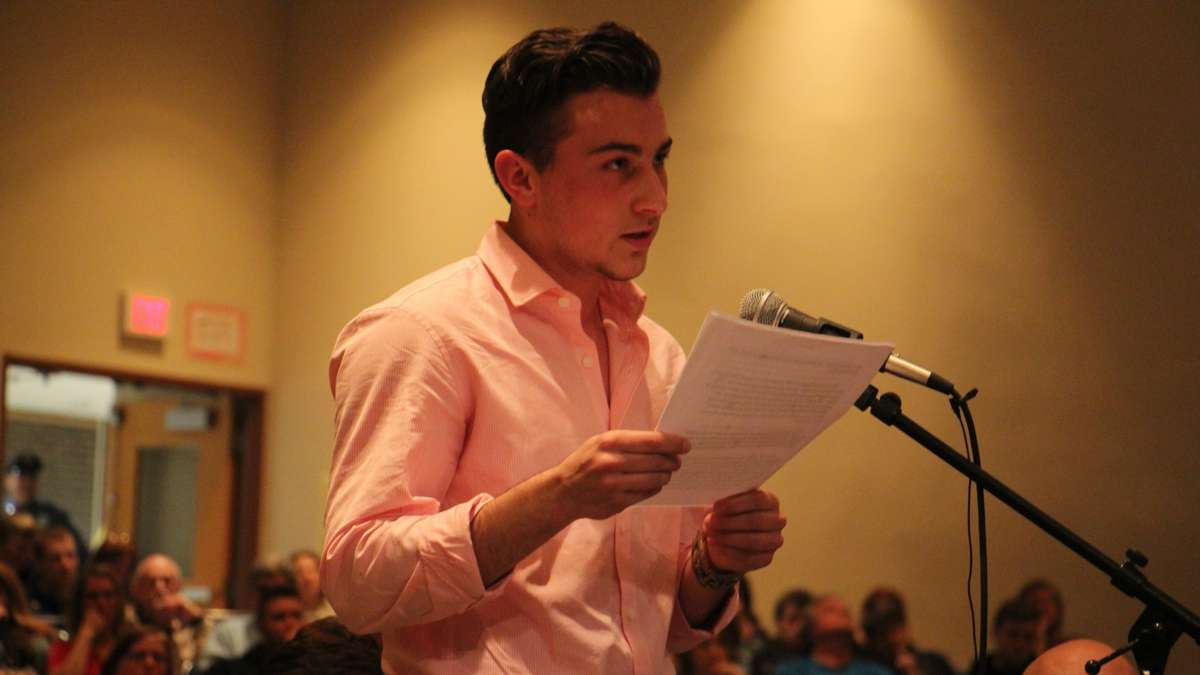 A transgender student at Boyertown High School, Aidan DeStefano, speaks in support of the school policy. (Emma Lee/WHYY)