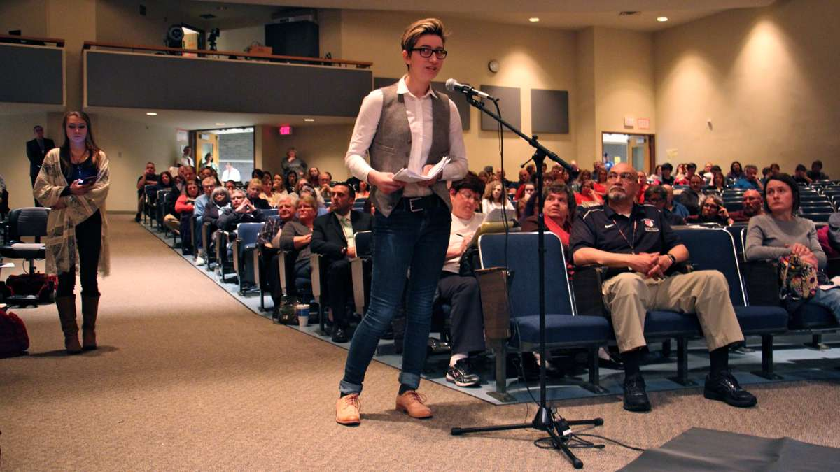 Students testify in support of the Boyerstown Area School District's policy of allowing transgender students to use locker rooms and restrooms that correspond to their gender identity. The district is facing a lawsuit filed by a student who said his privacy was violated when a transgender boy was allowed to use the same locker room. (Emma Lee/WHYY)