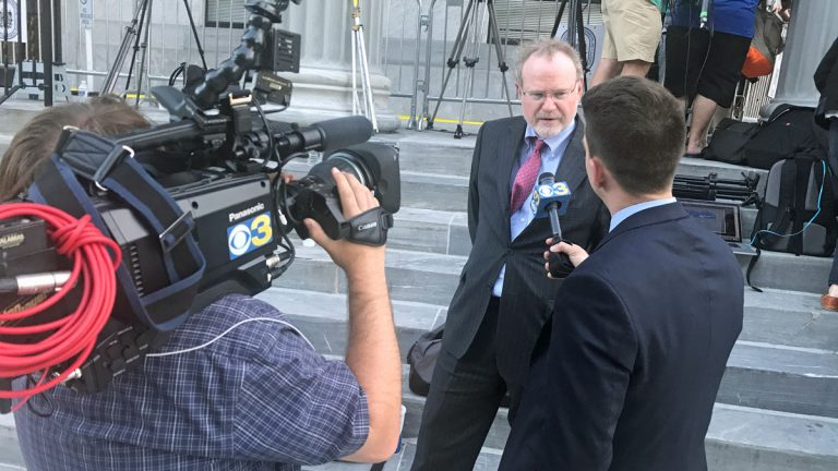 Former prosecutor Dennis McAndrews gives his legal analysis of the Cosby trial. It was among dozens of appearances he's made since offering himself up as an expert to reporters covering the trial. (Bobby Allyn/WHYY)