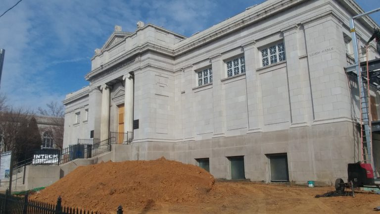 The Free Library of Philadelphia building at Sixth and Lehigh is under renovation (Tom MacDonald/WHYY)