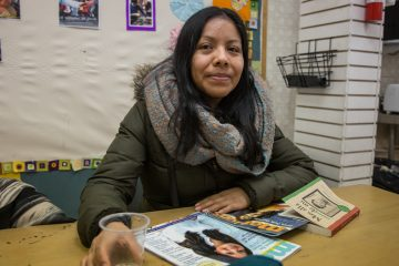 Martha lives in South Philadelphia. She has been taking her two boys to Mighty Writers since this branch in South Philadelphia opened about two years ago. Her sons are taking an immigration story workshop run by Nora Litz. (Emily Cohen for NewsWorks)