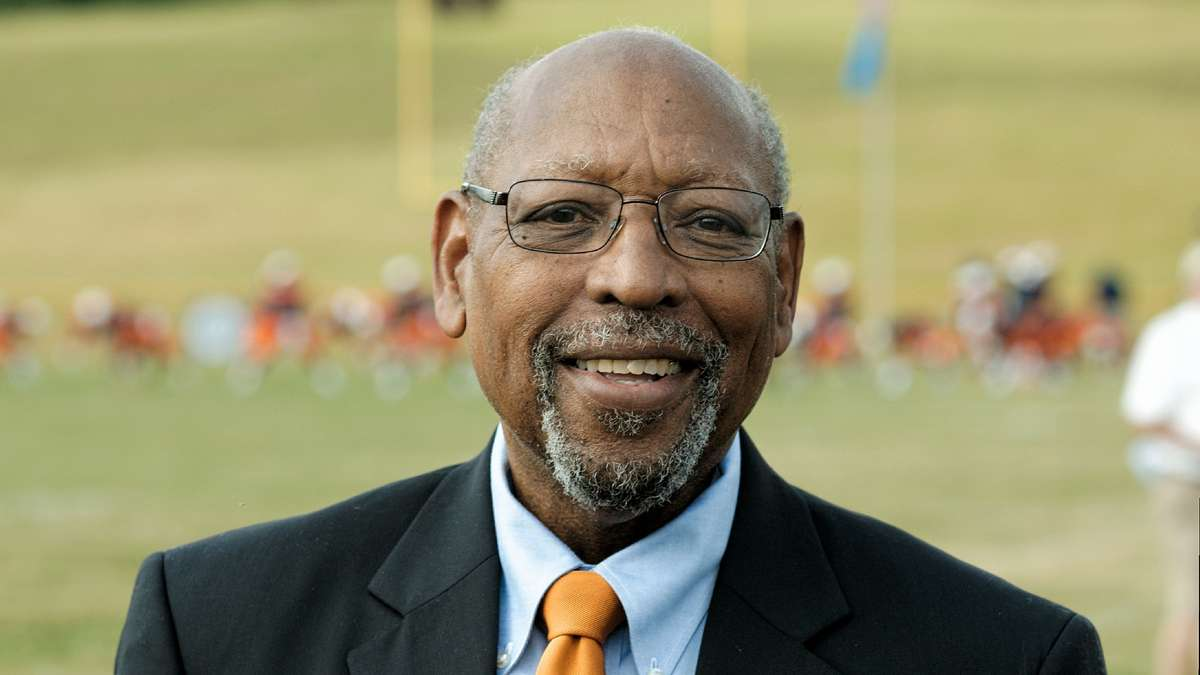 Lincoln University President Richard Green attends the Lincoln-Cheyney football game. He says his school's support services are the reason students stick around and succeed. (Bastiaan Slabbers/for NewsWorks)