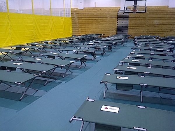 The Southeastern Pennsylvania chapter of the Red Cross set up a shelter Friday night at Lincoln High School in Mayfair.