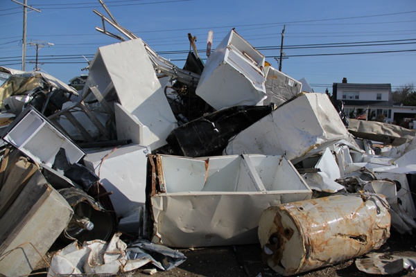 <p><p>Appliances set adrift by Sandy are piled in the Acme parking lot on Long Beach Boulevard in Beach Haven, N.J. (Emma Lee/for NewsWorks)</p></p>