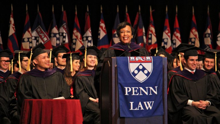 U.S. Attorney General Loretta Lynch delivers the commencement address for the University of Pennsylvania Law School Class of 2016 at the Academy of Music on South Broad Street. (Emma Lee/WHYY)