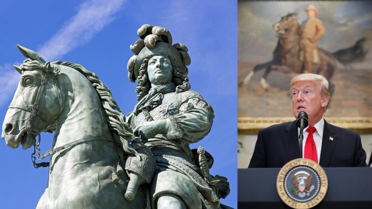 Equestrian statue of Louis XIV, castle of Versailles, France (left), and President Donald Trump pictured in the Roosevelt Room of the White House, Thursday, July 20, 2017, in Washington. (Neko92vl/Bigstock and Alex Brandon/AP)