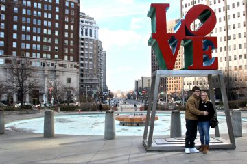 "Robert Indiana's ""LOVE"" sculpture has been back in its rightful space for six months now. Last week, city officials announced a plan for ""Wedding Wednesdays"" at LOVE Park in Philadelphia. (Emma Lee/WHYY)"