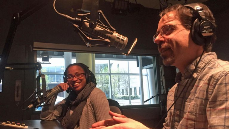 Loving Project podcast producers Farrah Parkes and her husband, former WHYY News Anchor, Brad Linder (Alan Tu/WHYY)