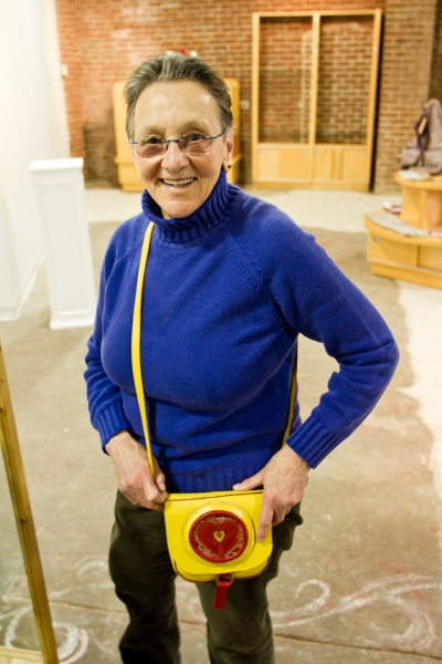 <p><p>Arlene Olshan shows one of her handmade leather bags, She has been making them for 45 years. (Brad Larrison/for NewsWorks)</p></p>