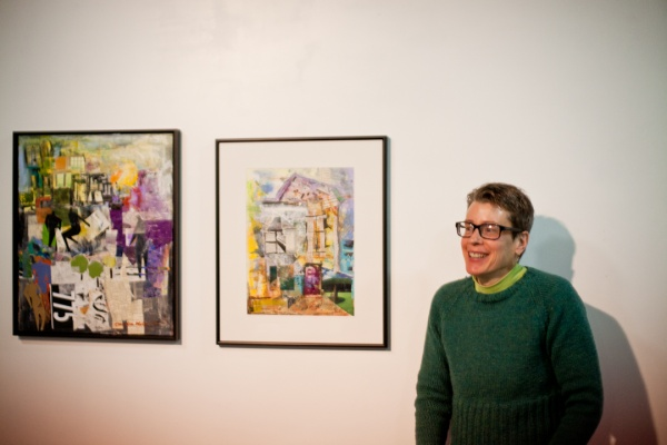 """<p><p>Claudia Mcgill shows off her collages, """"House With a Purple Door"""" (right), and """"First Thing in The Morning"""" (left).(Brad Larrison/for NewsWorks)</p></p>"""