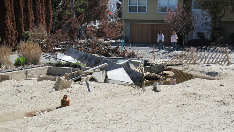 Superstorm Sandy swept some homes off their foundations in Mantoloking, N.J. (Phil Gregory/for NewsWorks)
