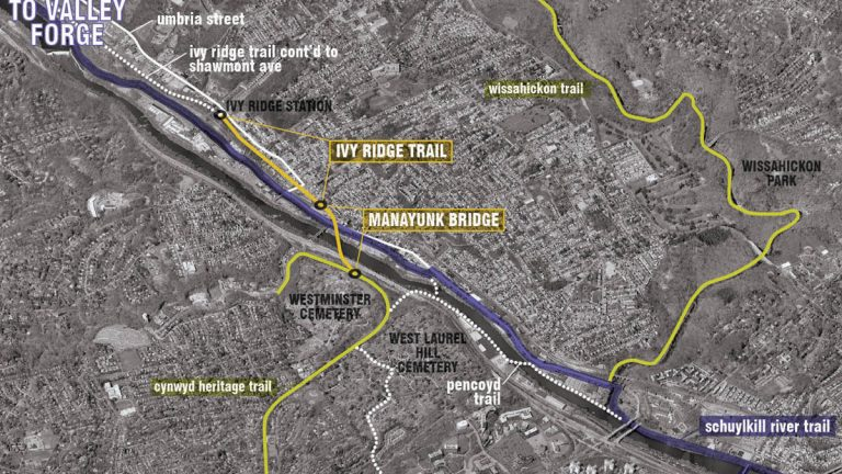 The Ivy Ridge Trail is mapped out to begin at the end of the Manayunk Bridge at Dupont and High streets and continue for six-tenths of a mile to SEPTA's Ivy Ridge regional rail station. (Image courtesy of Interface Studio)