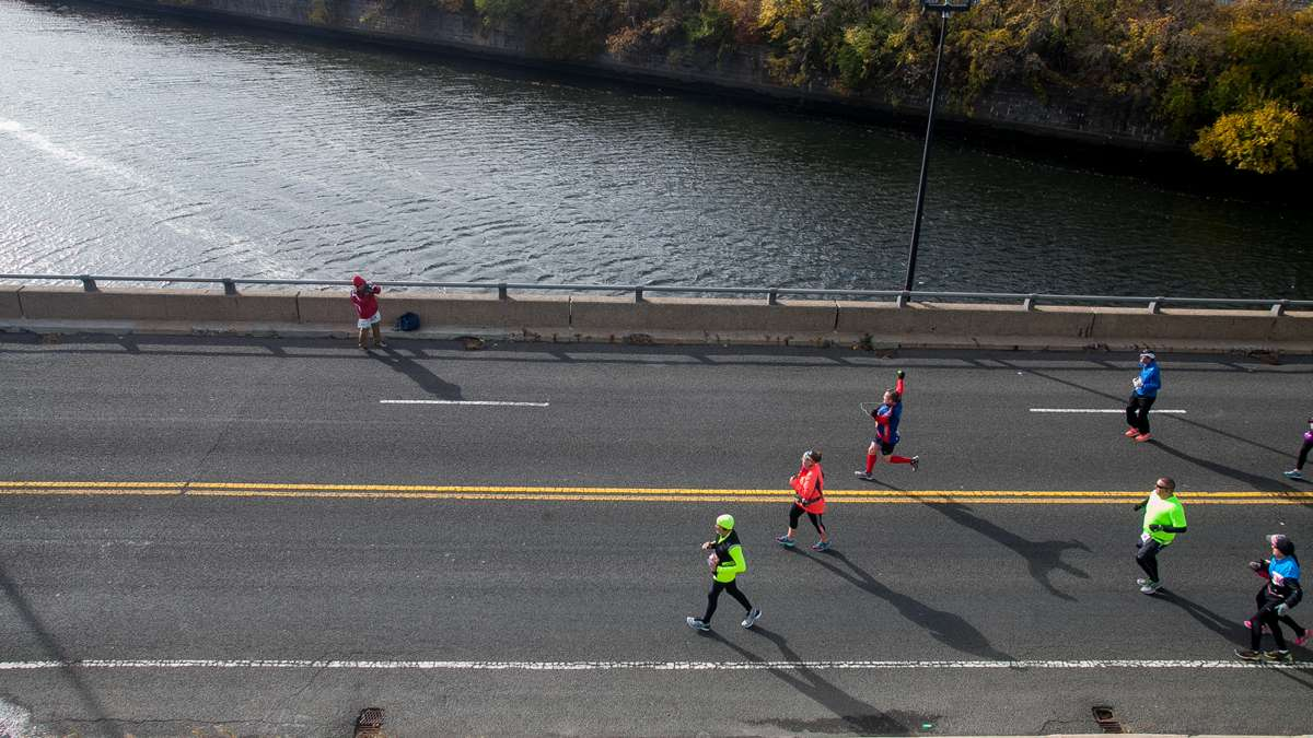 Runners make their way down Martin Luther King Drive approaching the finish of the 26.2-mile course.