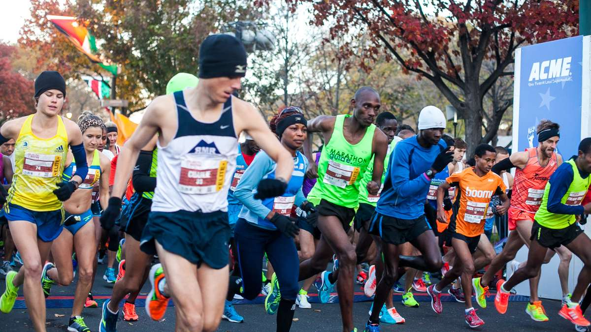 Elite runners take off from the starting line at the Philadelphia Marathon.