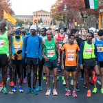 Elite runners prepare to begin The Philadelphia Marathon.