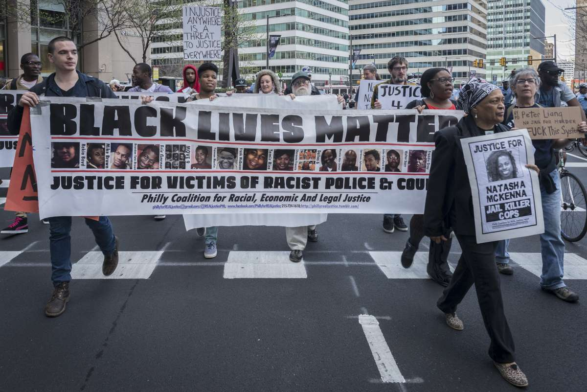 Protesters move the event from 15th and Market streets near City Hall and south on Broad Street.