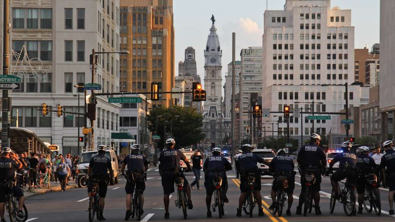 Philly police block North Broad Street at the Philly is Charlottesville march Wednesday evening. (Kimberly Paynter/WHYY)