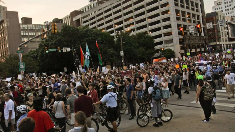 White supremacy protestors march down North Broad Street during the Philly is Charlottesville march Wednesday evening. (Kimberly Paynter/WHYY)
