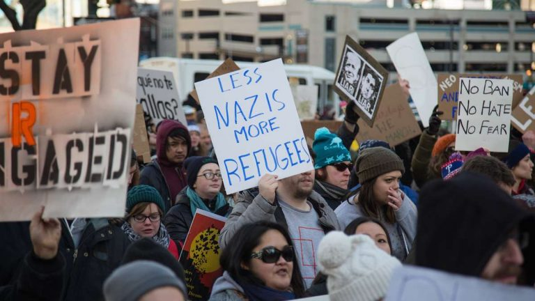 Thousands of protesters gather at Thomas Paine Plaza for a March for Humanity in support of refugees and immigrants in Philadelphia, PA February 4th 2017. (Emily Cohen for WHYY)