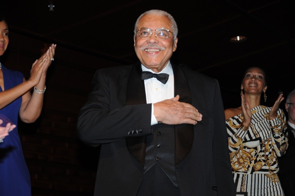 <p><p>Honoree James Earl Jones acknowledges the crowd after being introduced gala host, actor Terrence Howard (Photo courtesy of George B. Feder)</p></p>