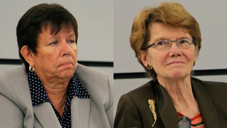 and Marjorie Neff (left) and Feather Houstoun (right) will leave the Philadelphia School Reform Commission before their terms expire. Commissioner Bill Green is suing for reinstatement as chairman of the SRC, a post now held by Neff. (Emma Lee/WHYY file)