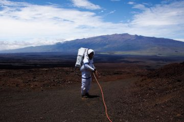 Ross Lockwood on top of a volcano in Hawaii, where he simulated living on mars for months. (Courtesy of Casey Stedmen)