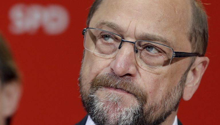 Martin Schulz, chairman of the German Social Democratic Party (SPD) and Chancellor candidate for the upcoming general elections addresses the media after first projections for the state elections in the German state of North Rhine-Westphalia were announced at the party's headquarters in Berlin, Germany, Sunday, May 14, 2017. First exit polls predict significant gains for Angela Merkel's Christian Democratic party. (AP Photo/Michael Sohn)