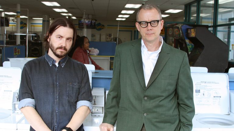The electronic duo, Matmos, at the laundromat. (Photo by Stewart Mostofsky)
