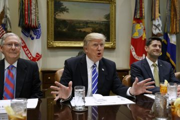 President Donald Trump speaks during a meeting with House and Senate leadership in the Roosevelt Room of the White House, Wednesday, March 1, 2017, in Washington. From left, Senate Majority Leader Mitch McConnell, R-Ky., Trump, and Speaker of the House Paul Ryan, R- Wis. (AP Photo/Evan Vucci, file)