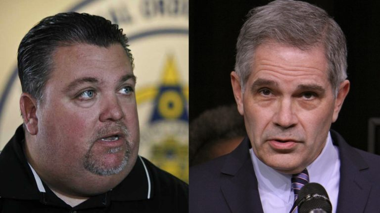Fraternal Order of Police President John McNesby (left) and Democratic nominee for Philadelphia district attorney Larry Krasner had words Wednesday (right) (NewsWorks file photos)
