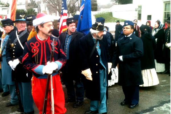 <p><p>Jeff Rodriguez came from Winona, N.J. to take part in Monday's ceremony. He is dressed in a colorful Zouave uniform and is representing the 114th PA Regiment. The Zouave uniform was patterned after those used in the French army at the time of the Civil War. (Karl Biemuller/for NewsWorks)</p></p>