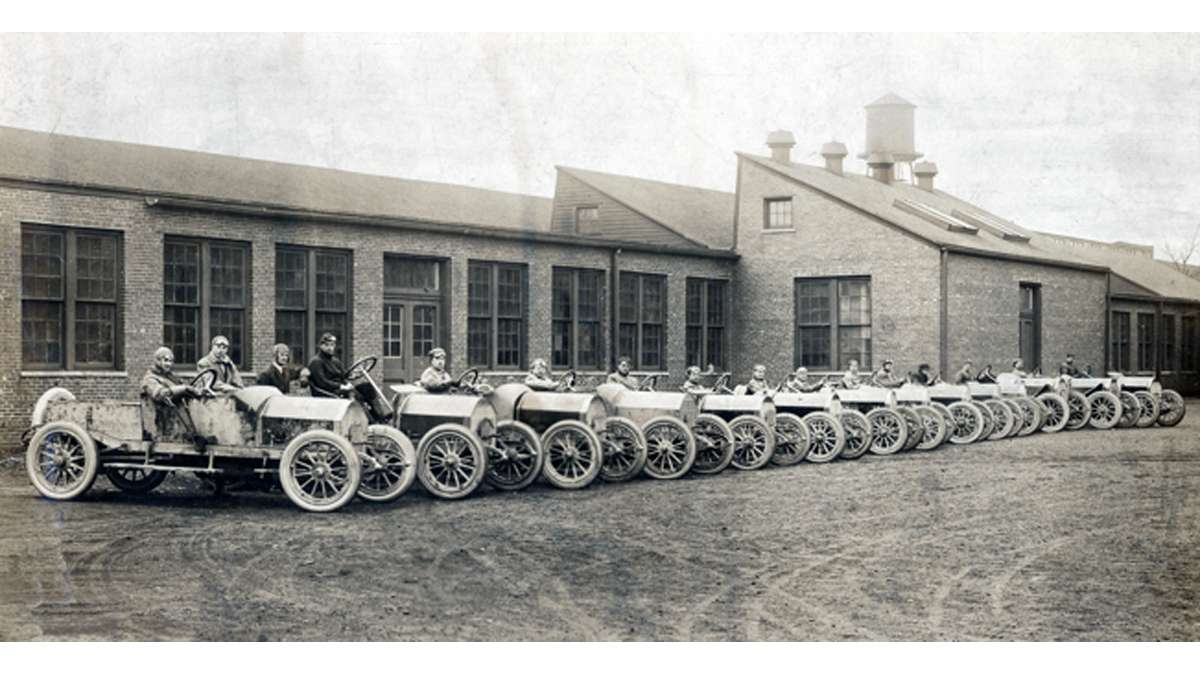 The 1912 Raceabout Test Drivers are pictured here at the Mercer Automobile Company's Factory on Whitehead Road in Trenton, New Jersey  (Photo courtesy of Clifford Zink)