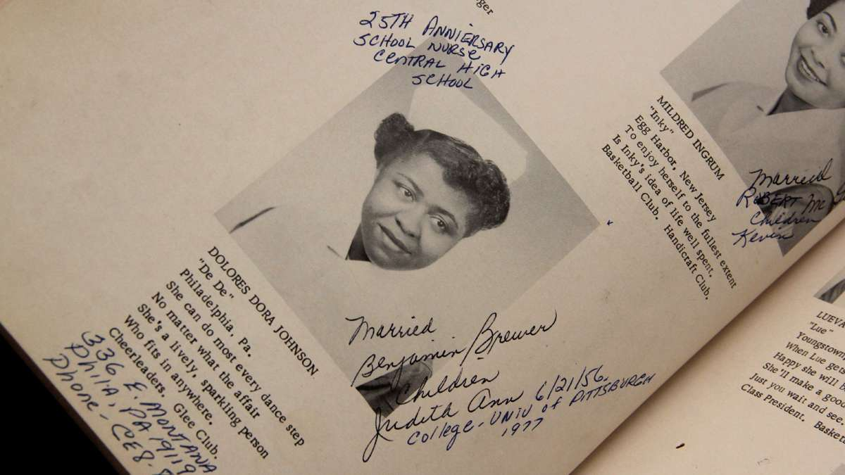 Dolores Johnson Brewer as she appears in her 1952 Mercy Douglass yearbook. (Emma Lee/for NewsWorks)