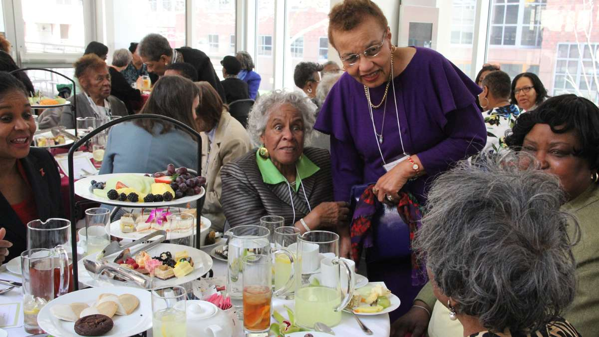 Mercy Douglas School of Nursing alumni renew old friendships at a tea in their honor at the University of Pennsylvania. (Emma Lee/for NewsWorks)