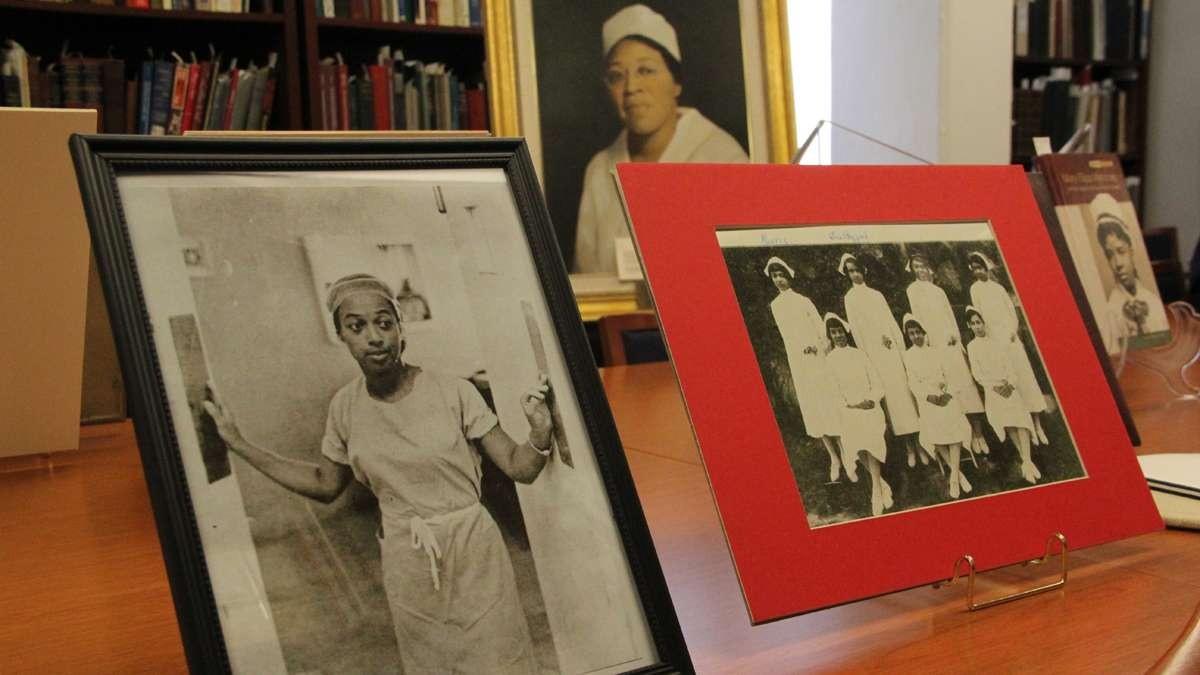 Photographs and mementos from Mercy Douglas School of Nursing are on display at the University of Pennsylvania. (Emma Lee/for NewsWorks)