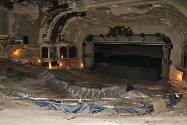 <p><p>A tarp placed above the church's service area keeps pieces of the Metropolitan Opera House ceiling from falling into the congregation. (Kimberly Paynter/for NewsWorks)</p></p>