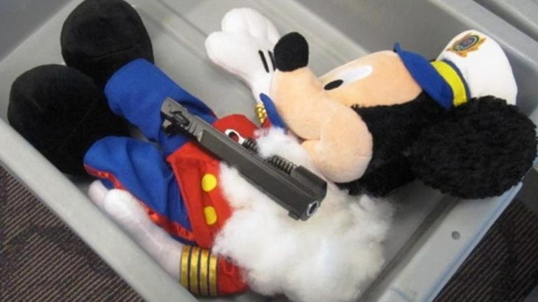 This undated photo provided by the federal Transportation Security Administration shows pistol parts hidden in a stuffed animal found inside a carry-on bag that was put through an x-ray machine as part of normal security screening at T.F. Green Airport in Warwick, R.I. (AP Photo/Transportation Security Administration)