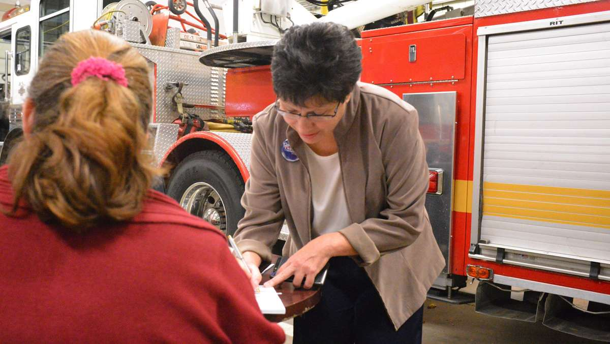 State Rep. Pam DeLissio voted at Ladder 30 in Roxborough on Tuesday morning shortly after the polls opened. (Bas Slabbers/for NewsWorks)