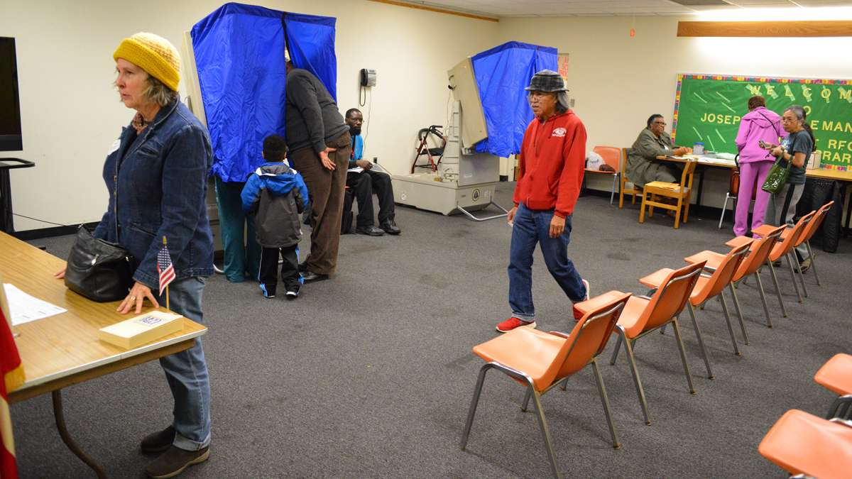 Voting at the Joseph Coleman branch of the Free Library in Germantown. (Bas Slabbers/for NewsWorks)