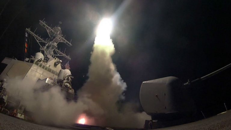 In this Friday, April 7, 2017 file image provided by the U.S. Navy, the guided-missile destroyer USS Porter (DDG 78) launches a tomahawk land attack missile in the Mediterranean Sea as the United States blasted a Syrian air base with a barrage of cruise missiles in fiery retaliation for a gruesome chemical weapons attack against civilians earlier in the week. North Korea has vowed to bolster its defenses to protect itself against airstrikes like the ones President Donald Trump ordered against an air base in Syria. The North called the airstrikes