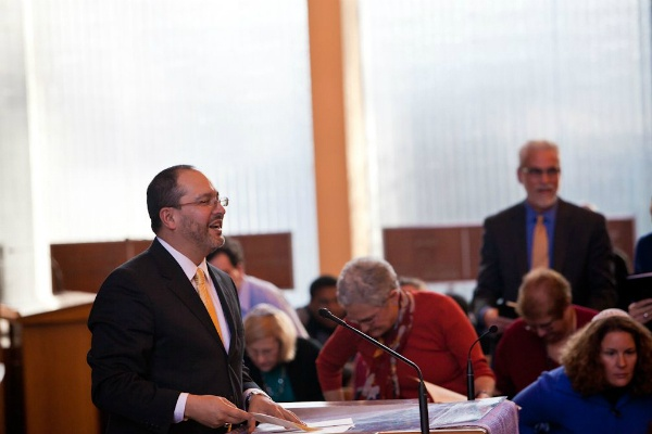 <p><p>Master of Ceremonies, Rev. Ernest Flores of Second Baptist Church of Germantown, makes an opening statement to those in attendance. (Brad Larrison/for NewsWorks)</p></p>