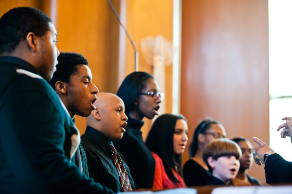 <p><p>Members of the Second Baptist Church Youth Choir perform during the interfaith service at Germantown Jewish Centre. (Brad Larrison/for NewsWorks)</p></p>