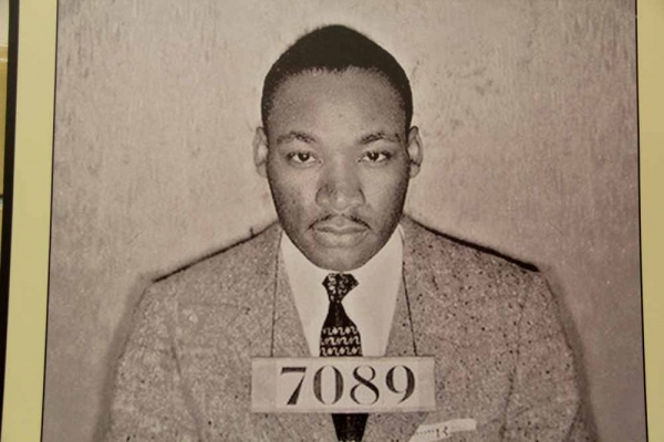 <p><p>A mug shot of Martin Luther King Jr., taken after his arrest during the Birmingham bus boycott, hangs on the wall at Eastern State Penitentiary. (Emma Lee/for NewsWorks)</p></p>
