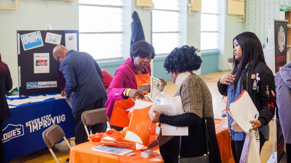 Nickie Richardson looked to recruit new employees for Home Depot at a job and services fair at Girard College on Martin Luther King Day. (Brad Larrison for NewsWorks)
