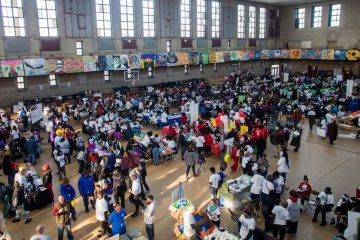 Philadelphians walk through a job and services fair at Girard College on Martin Luther King Day 2017.