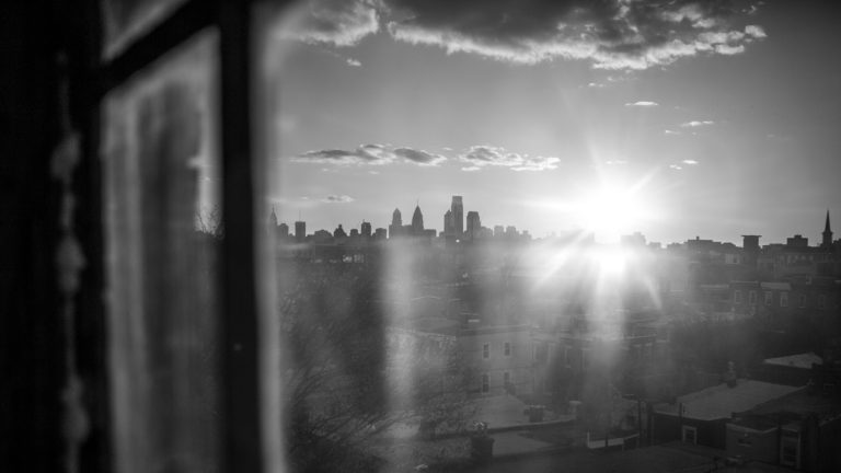 A view from a window on Montgomery Avenue looking toward Center City Philadelphia.  (Jessica Kourkounis/For Keystone Crossroads)
